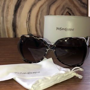 YSL Leopard Print Oversized Sunglasses